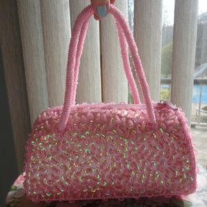 PURSE BIJOUX TERNER HANDBAG Pink w/ Beads, Sequins
